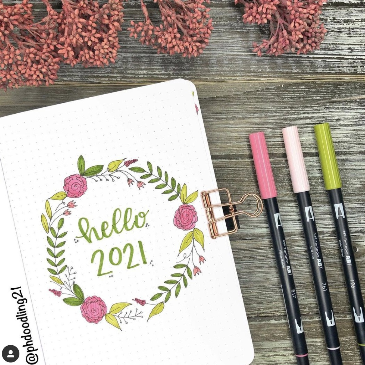 January Bullet Journal Cover Page Ideas