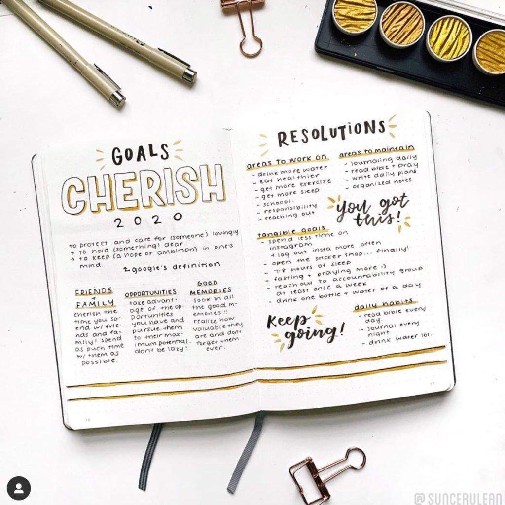 Bullet Journal January Goals