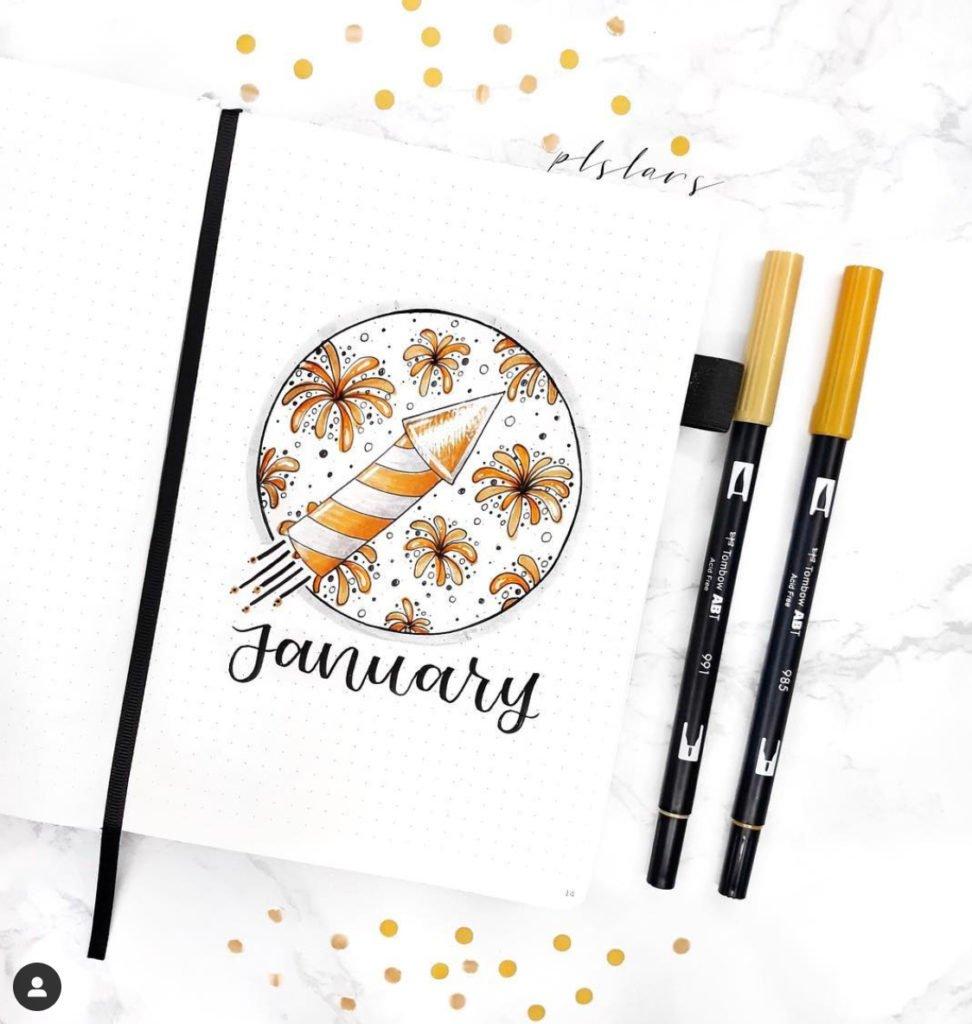 January Bullet Journal Cover Fireworks