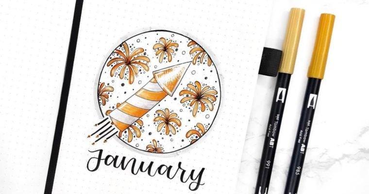 January Bullet Journal Fireworks Theme