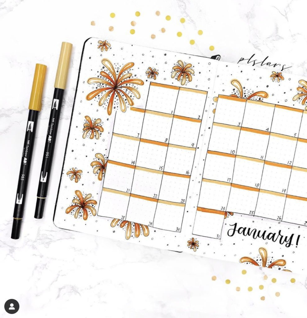 January Bullet Journal Monthly Spreads Fireworks