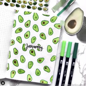 avocado bullet journal theme green cover page