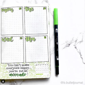 avocado bullet journal weekly spread theme green