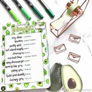 avocado bullet journal theme green playlist