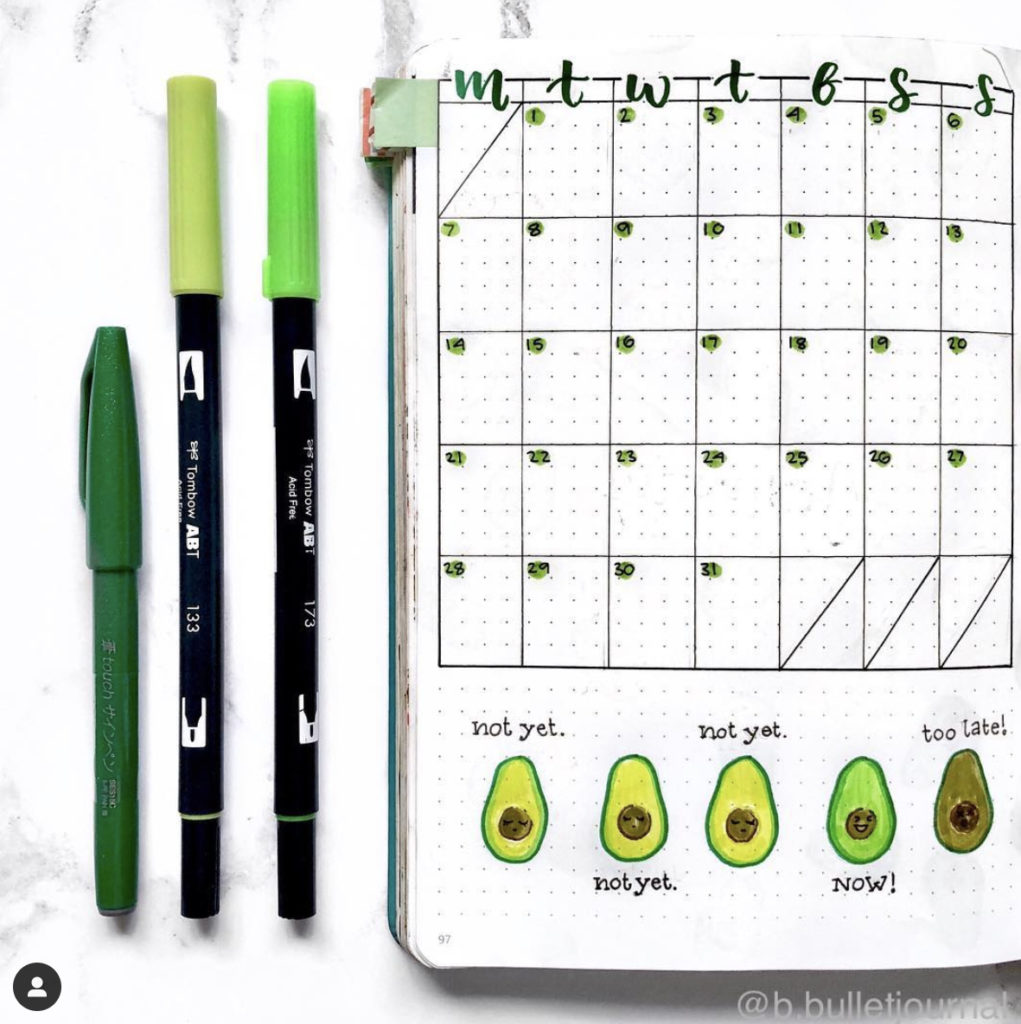 bullet journal monthly spread avocado theme green