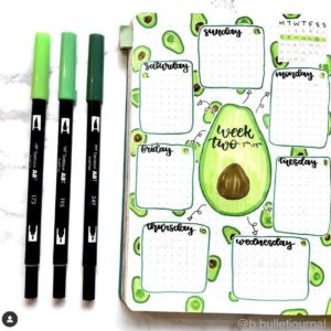 bullet journal weekly spread avocado theme green