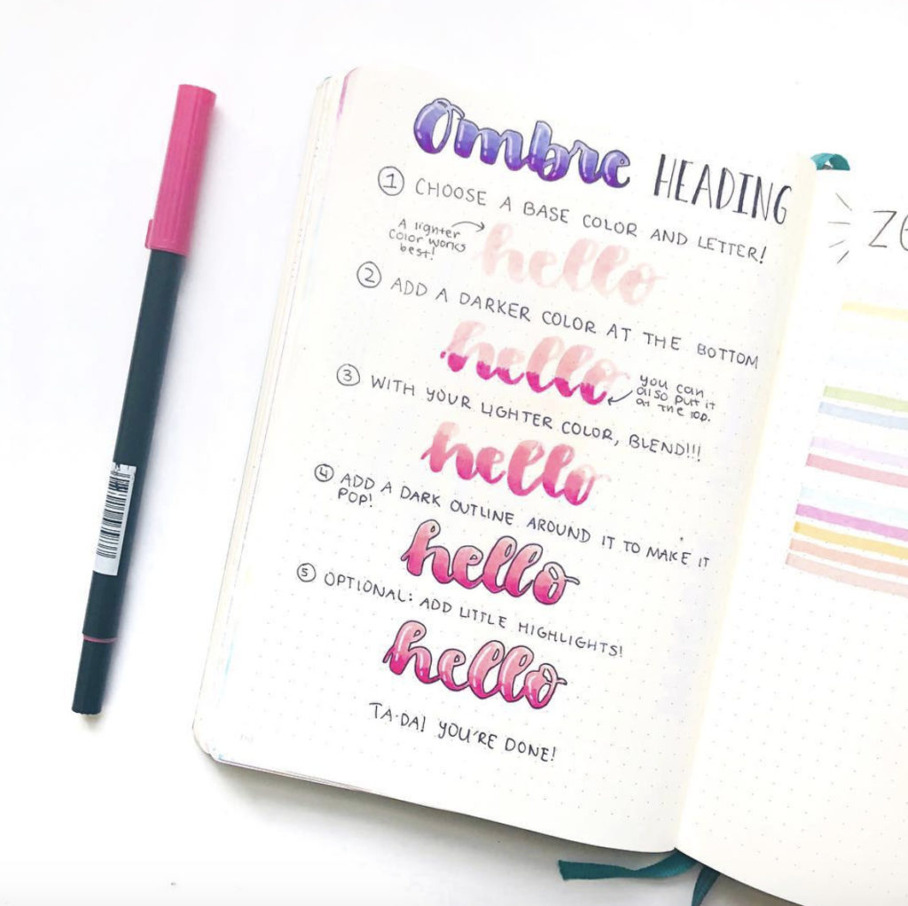 how to bullet journal ombre heading