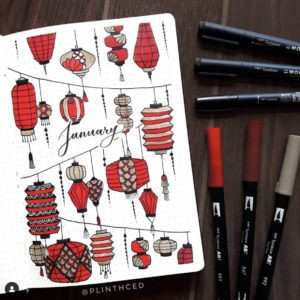 best bullet journal cover page red lantern