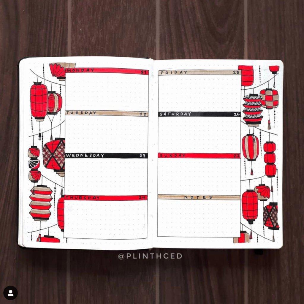 best bullet journal weekly log red lantern