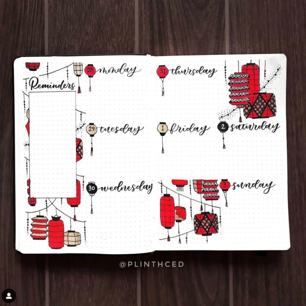 best bullet journal weekly spread red lantern
