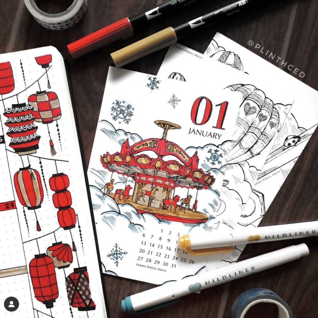 best bullet journal red calendar cover page red lantern