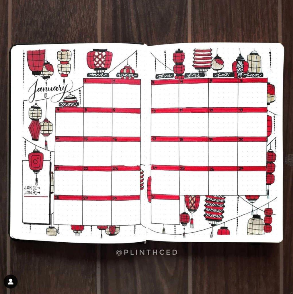 best bullet journal monthly spread red lantern