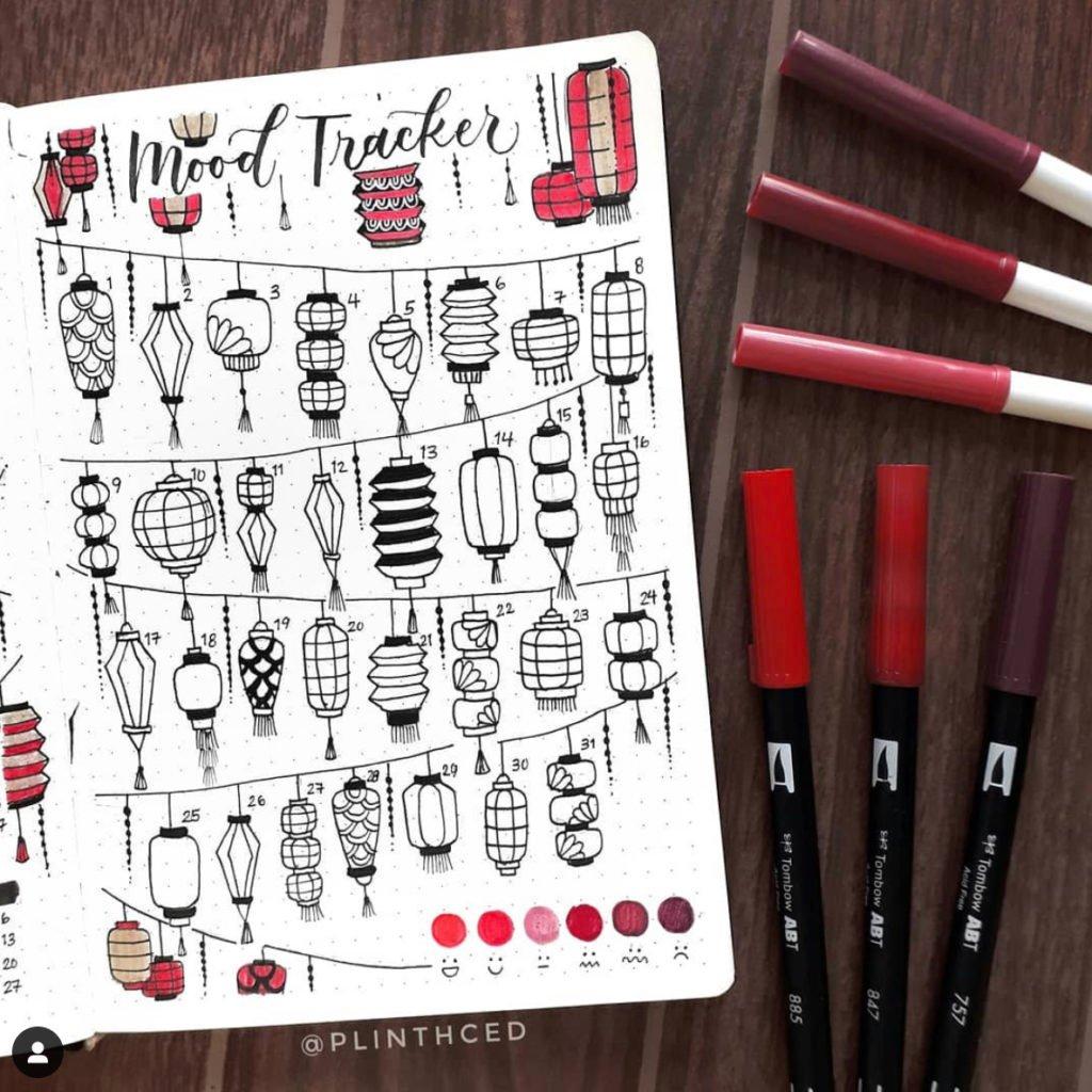 bullet journal mood tracker red lantern