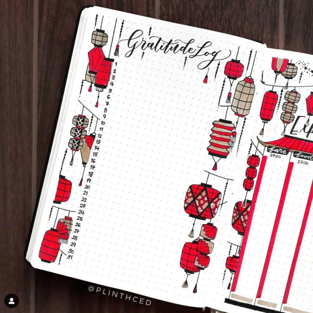 bullet journal gratitude log red lantern