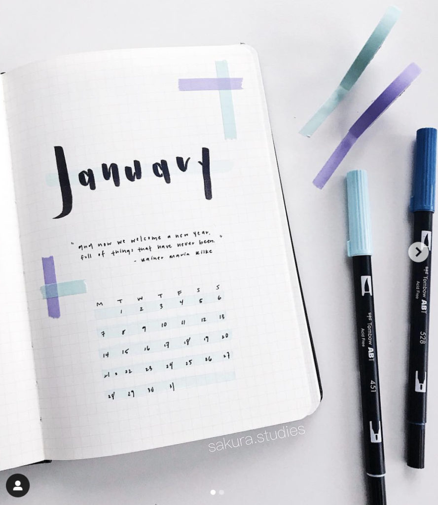 january bullet journal cover page design