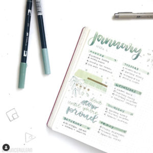 january bullet journal weekly spread layout green ombre