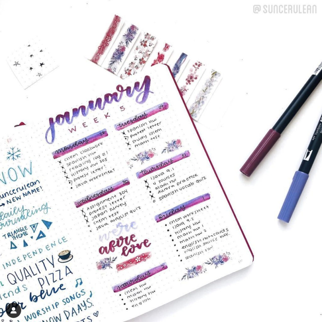january bullet journal weekly spread layout purple ombre