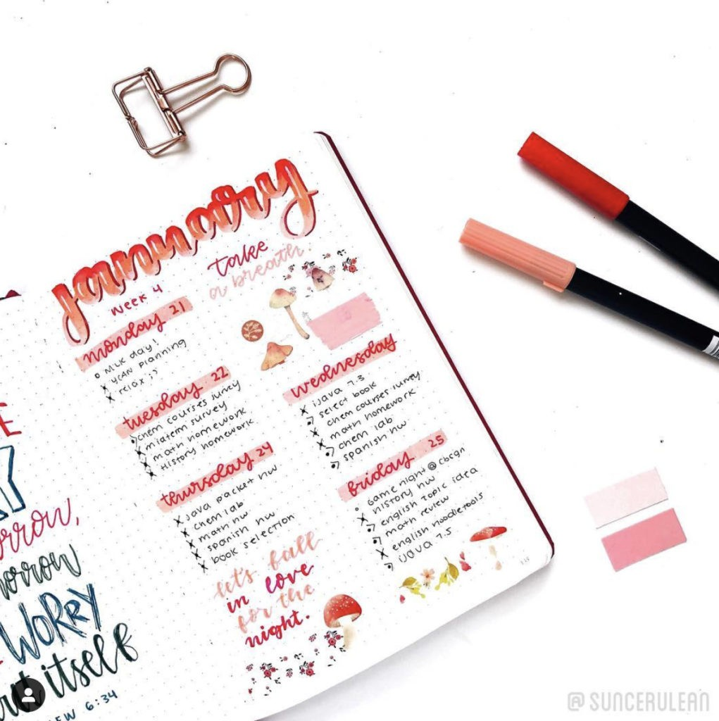 january bullet journal weekly spread layout red ombre