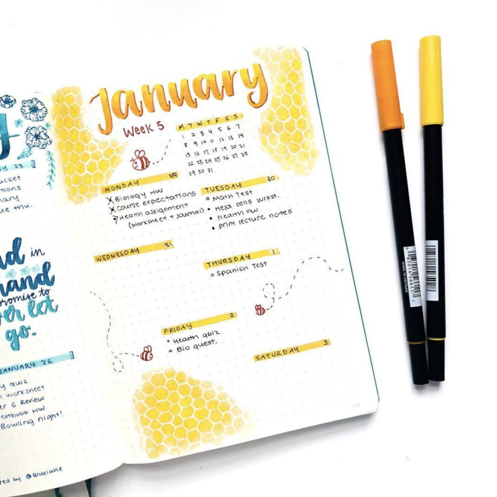 january bullet journal weekly spread layout yellow ombre