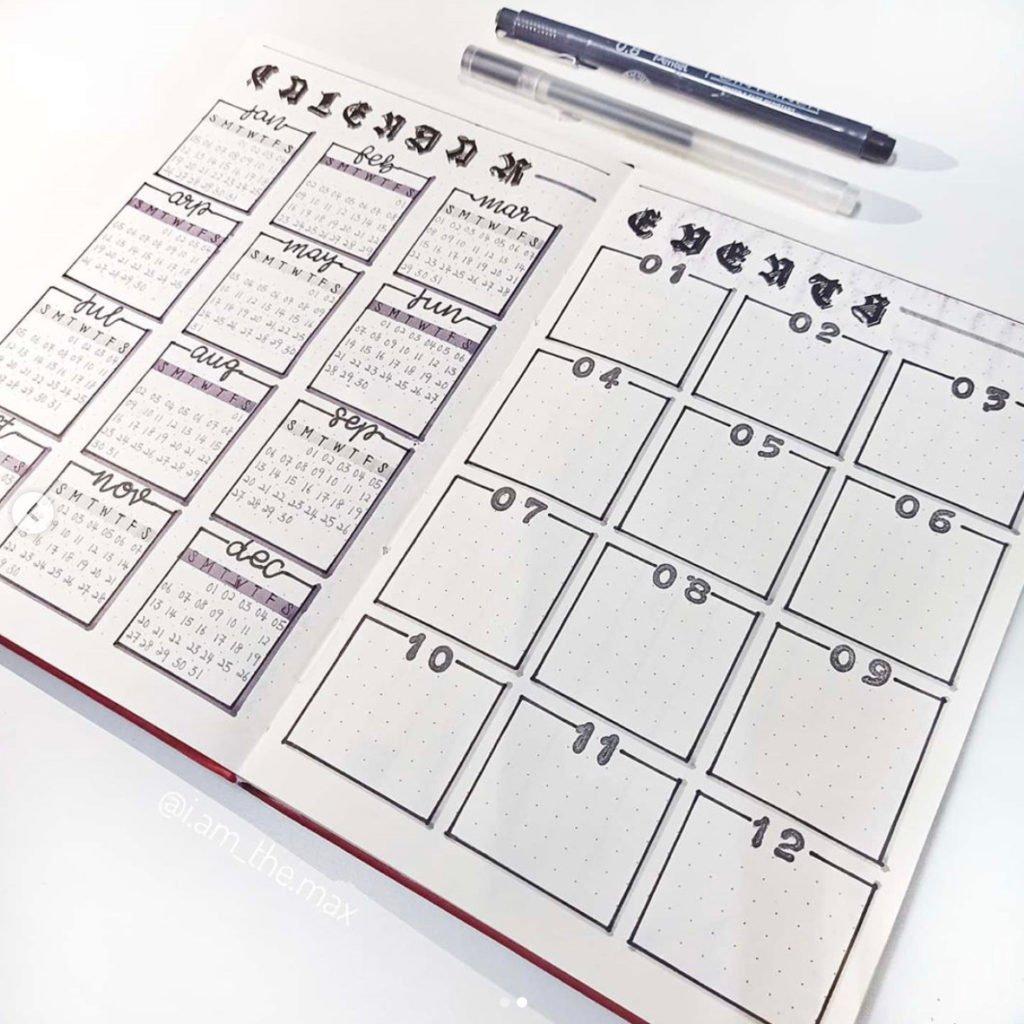 bullet journal minimalist 2020 birthday tracker