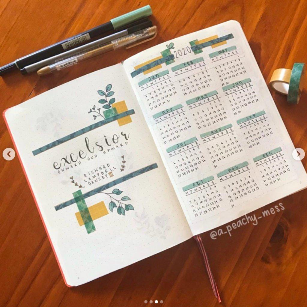bullet journal minimalist 2020 calendar