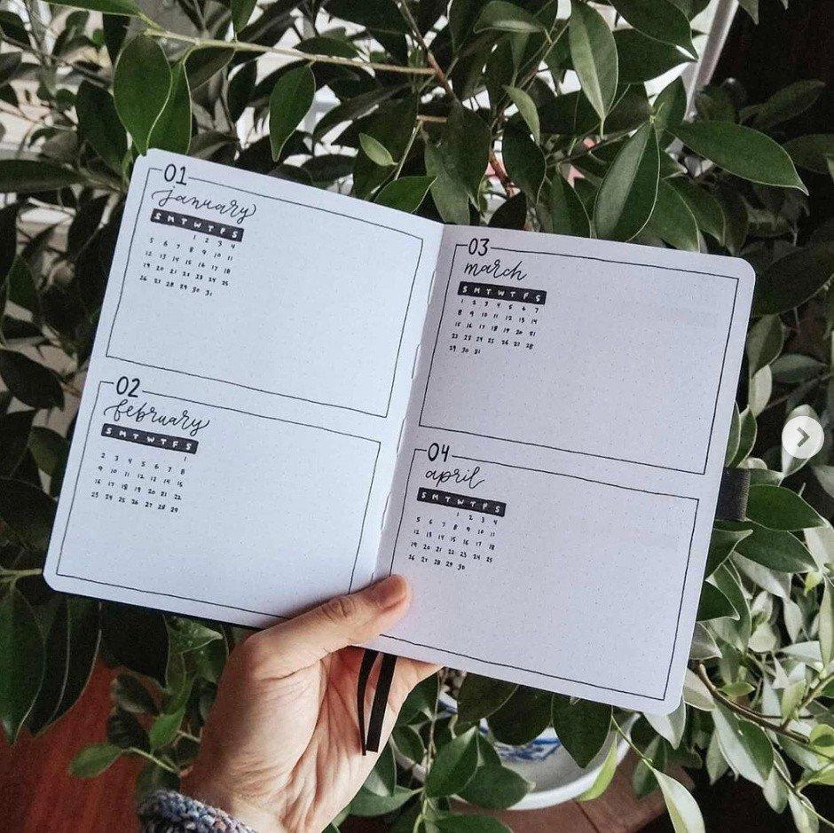 bullet journal minimalist 2020 future log