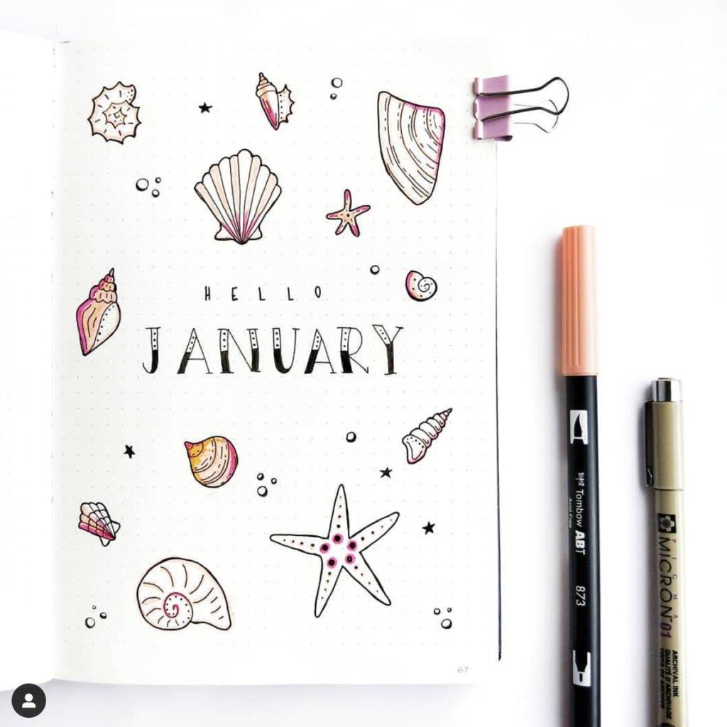bullet journal cover seashell theme