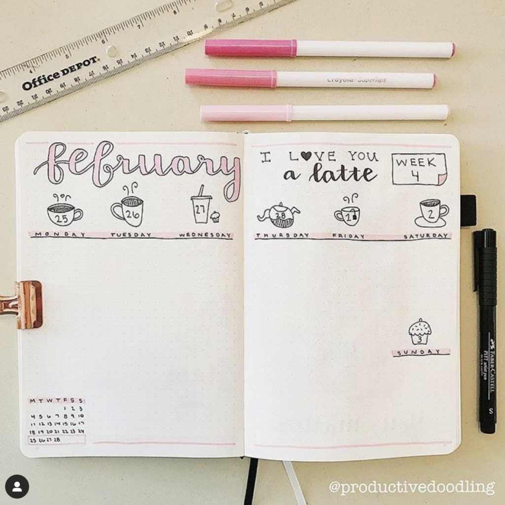 bullet-journal-pink-flowers-theme