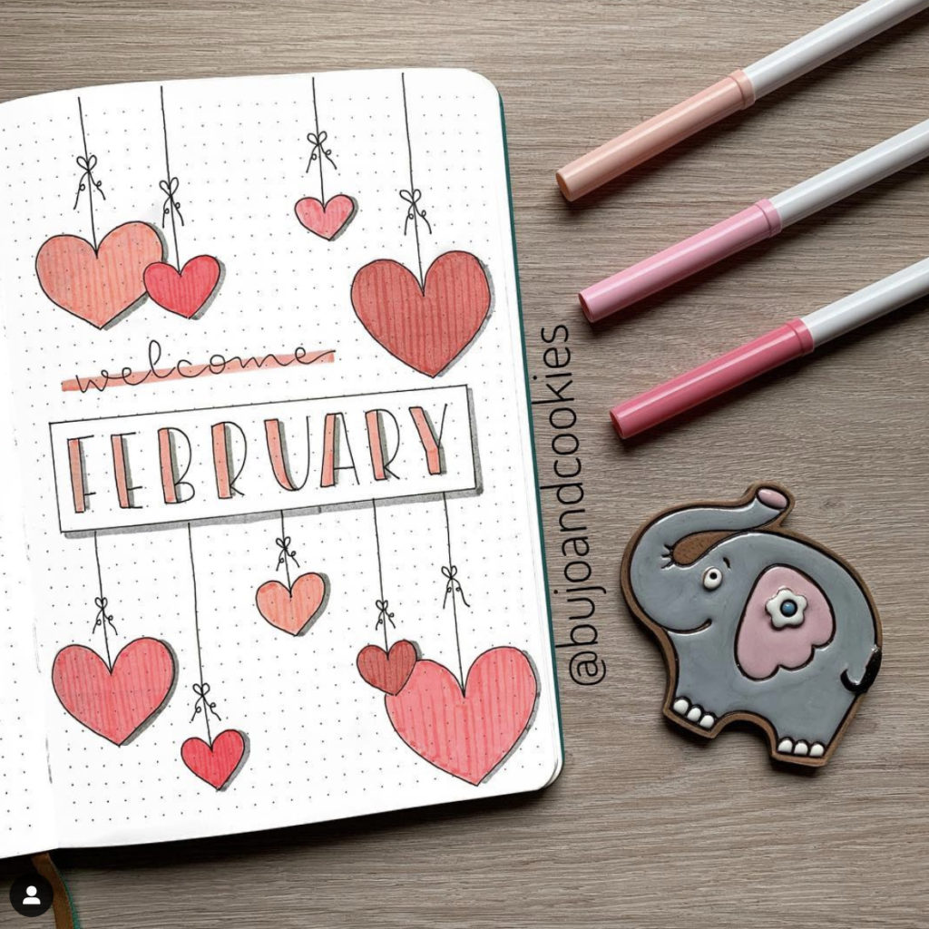 25+ Best February Bullet Journal Cover Page Ideas