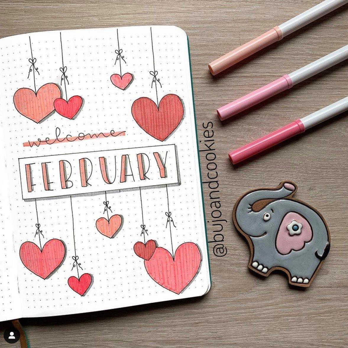 25+ Best February Bullet Journal Valentines Ideas