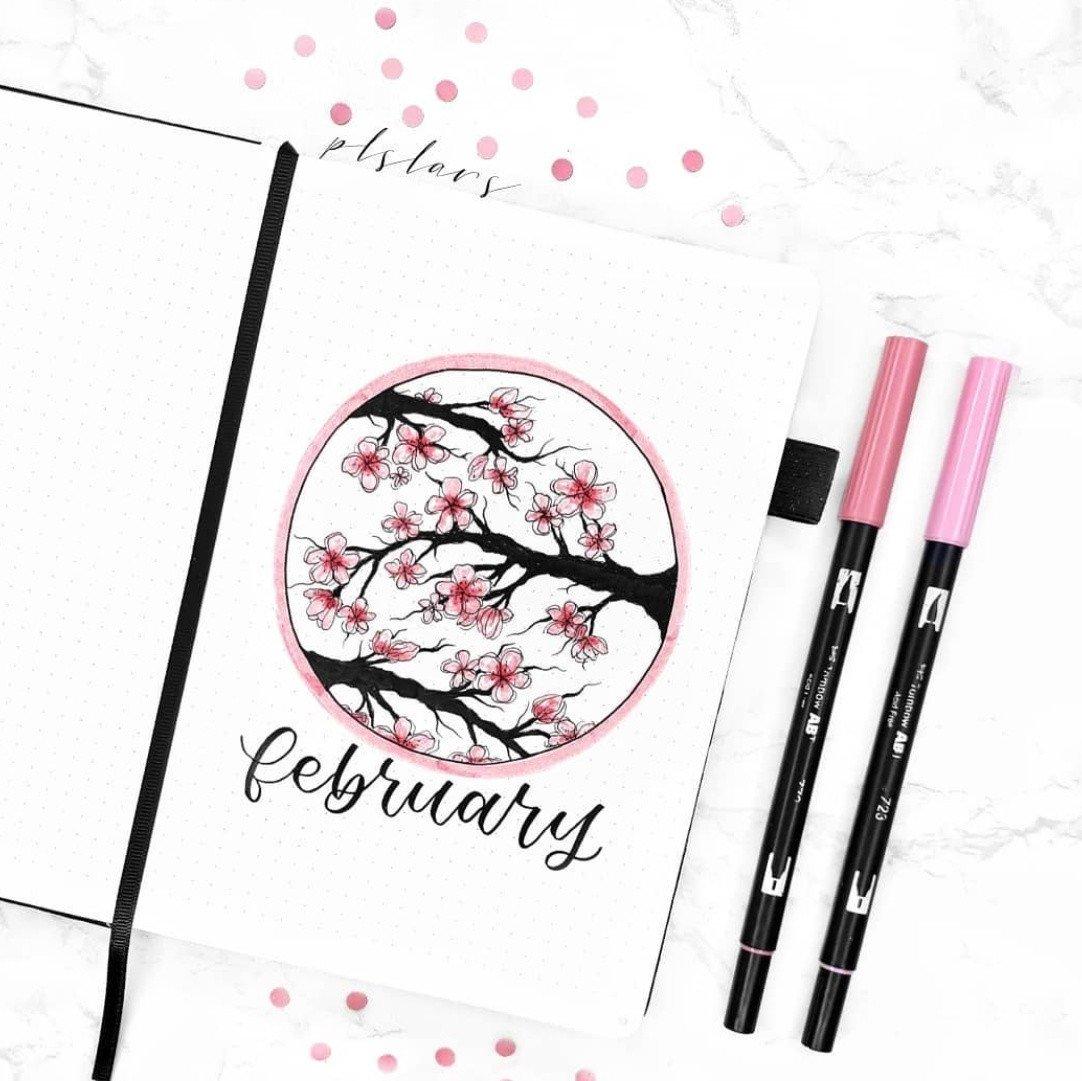 February Bullet Journal Cherry Blossoms Theme