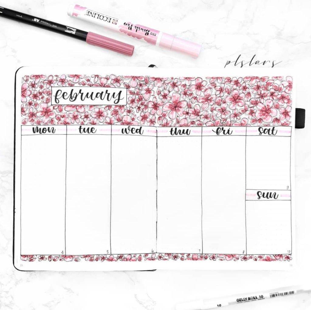 february bullet journal weekly spread