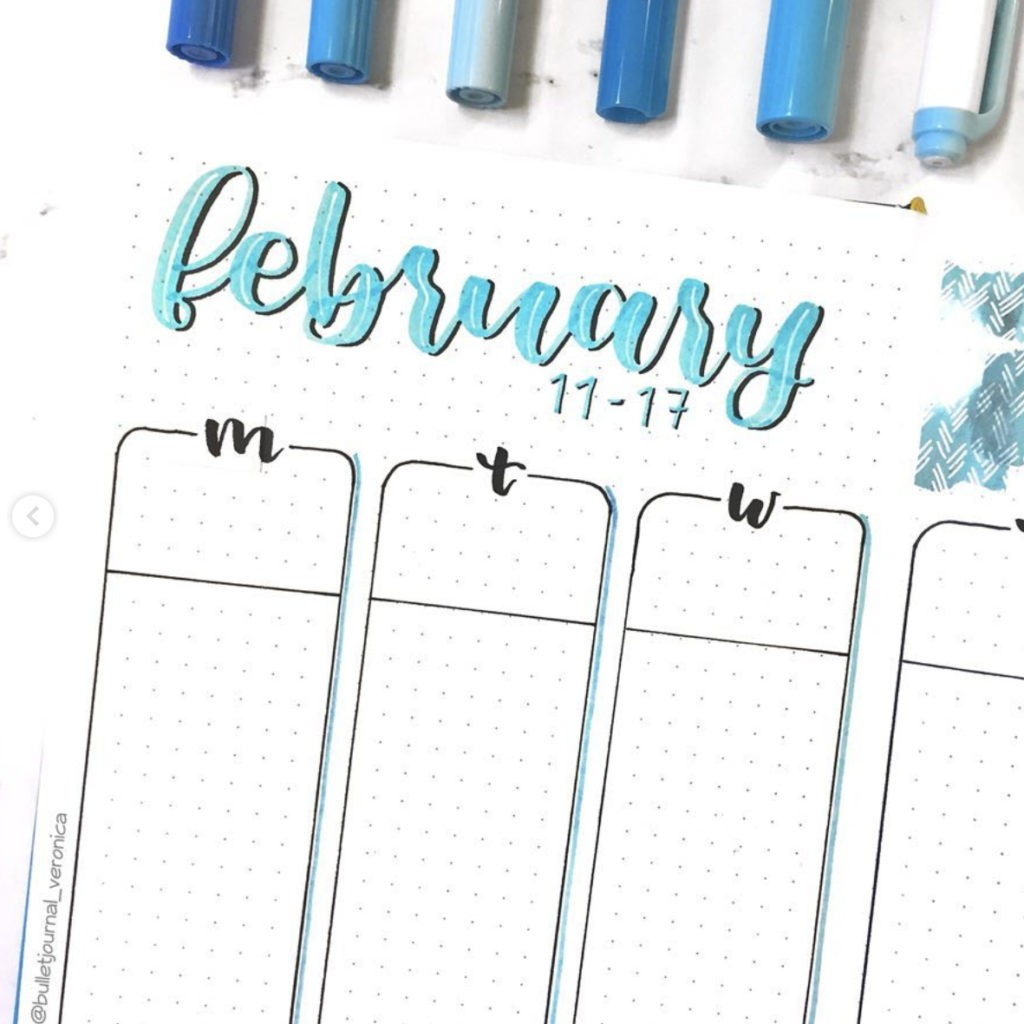 February Bullet Journal weekly Ideas