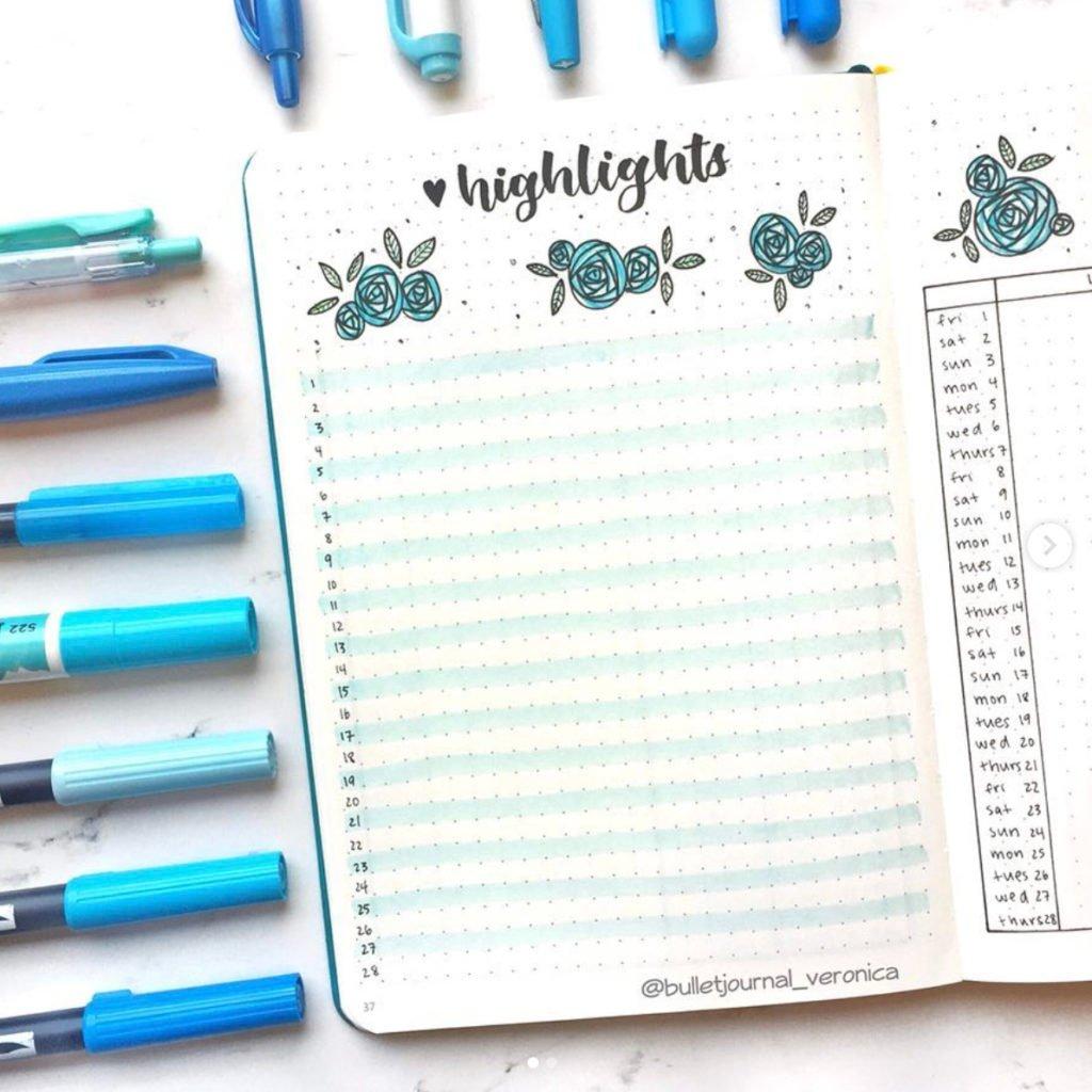 February Bullet Journal highlights ideas