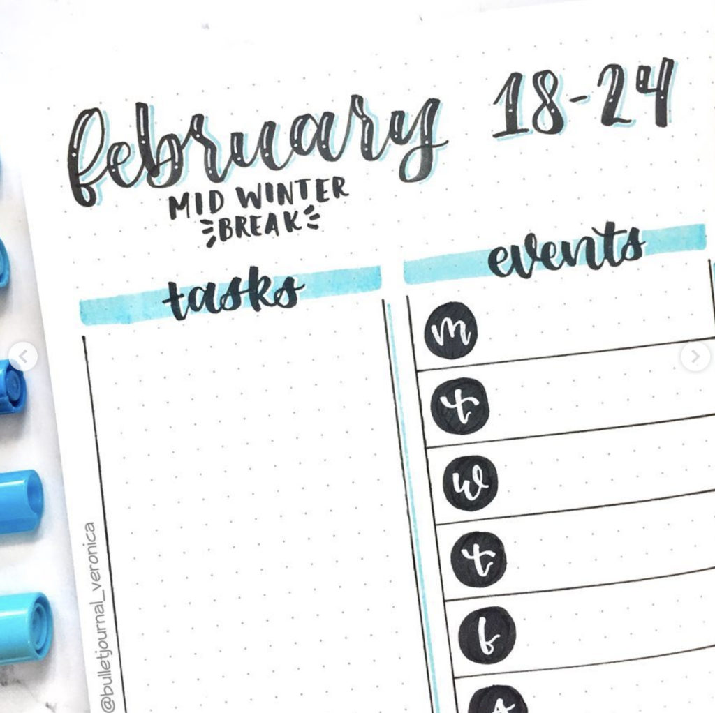 February Bullet Journal weekly spread Ideas