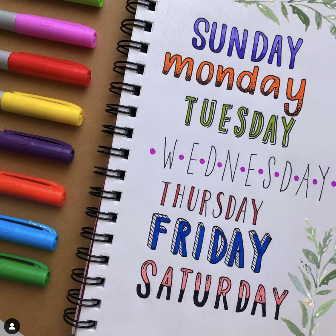 Bullet Journal Font Ideas for Everyday of the Week