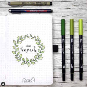 march bullet journal cover plant theme