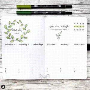 bullet journal week plant theme