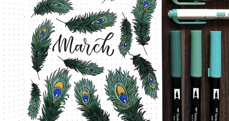 March Bullet Journal Ideas: Feather Theme