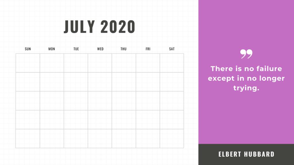 free printable calendar july