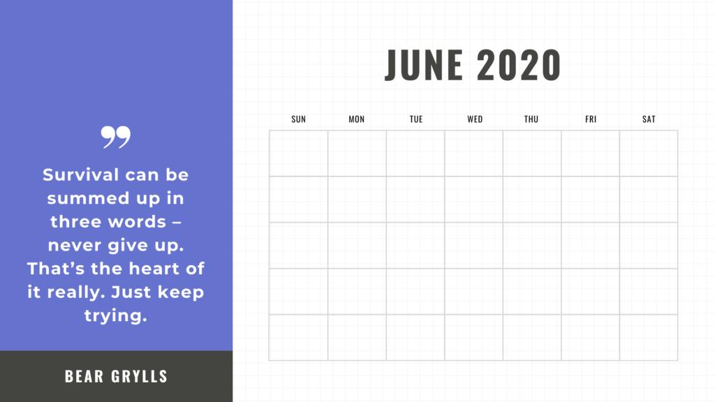 free printable calendar june