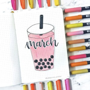 march bullet journal cover page bubble tea