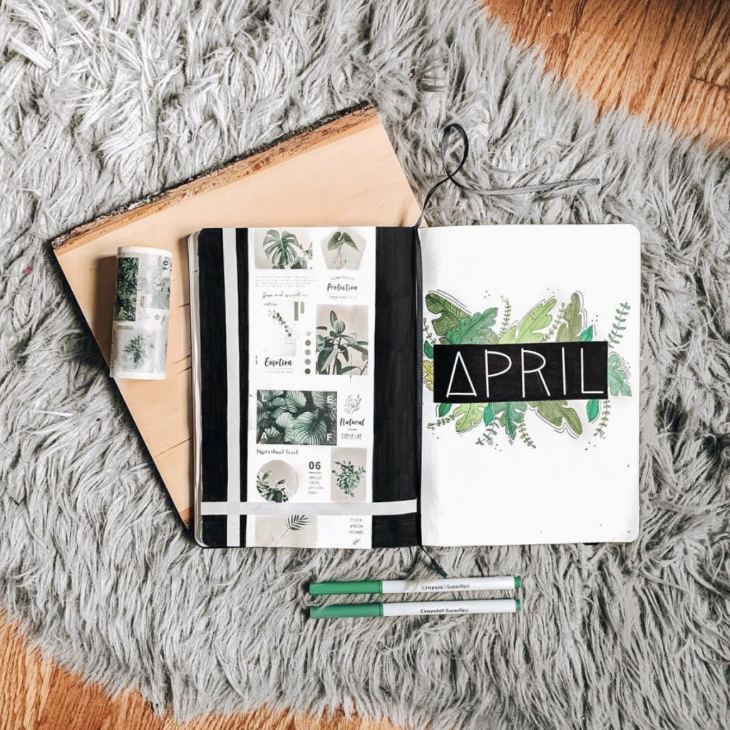 april monthly layout bullet journal