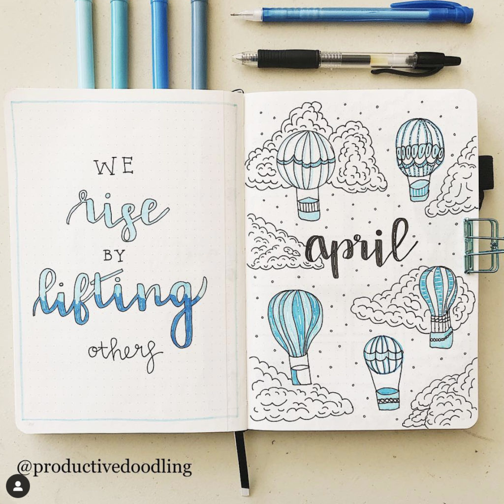 april bullet journal monthly layout