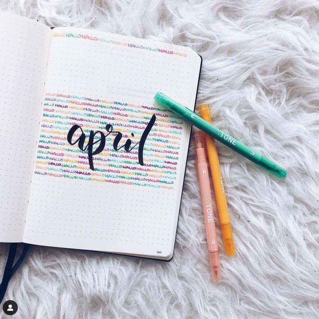april monthly log bullet journal