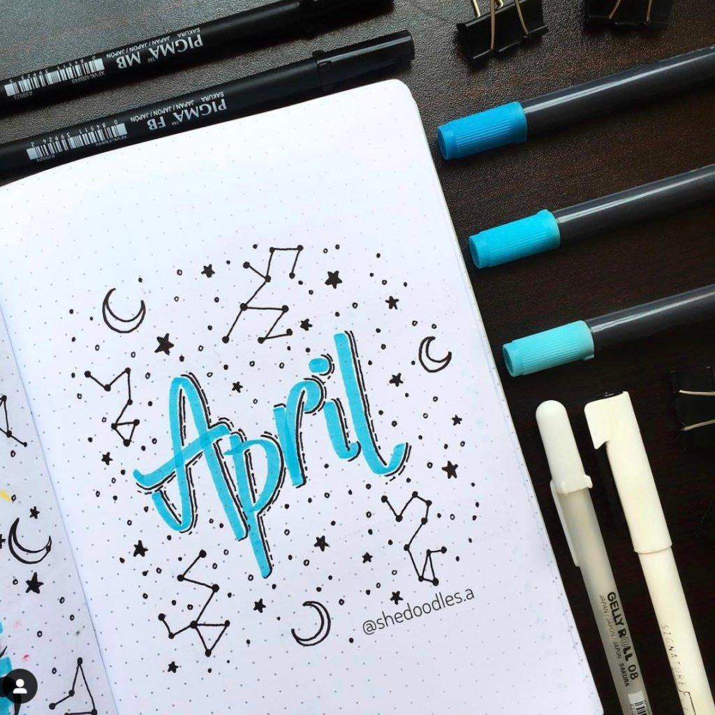 april bullet journal monthly log