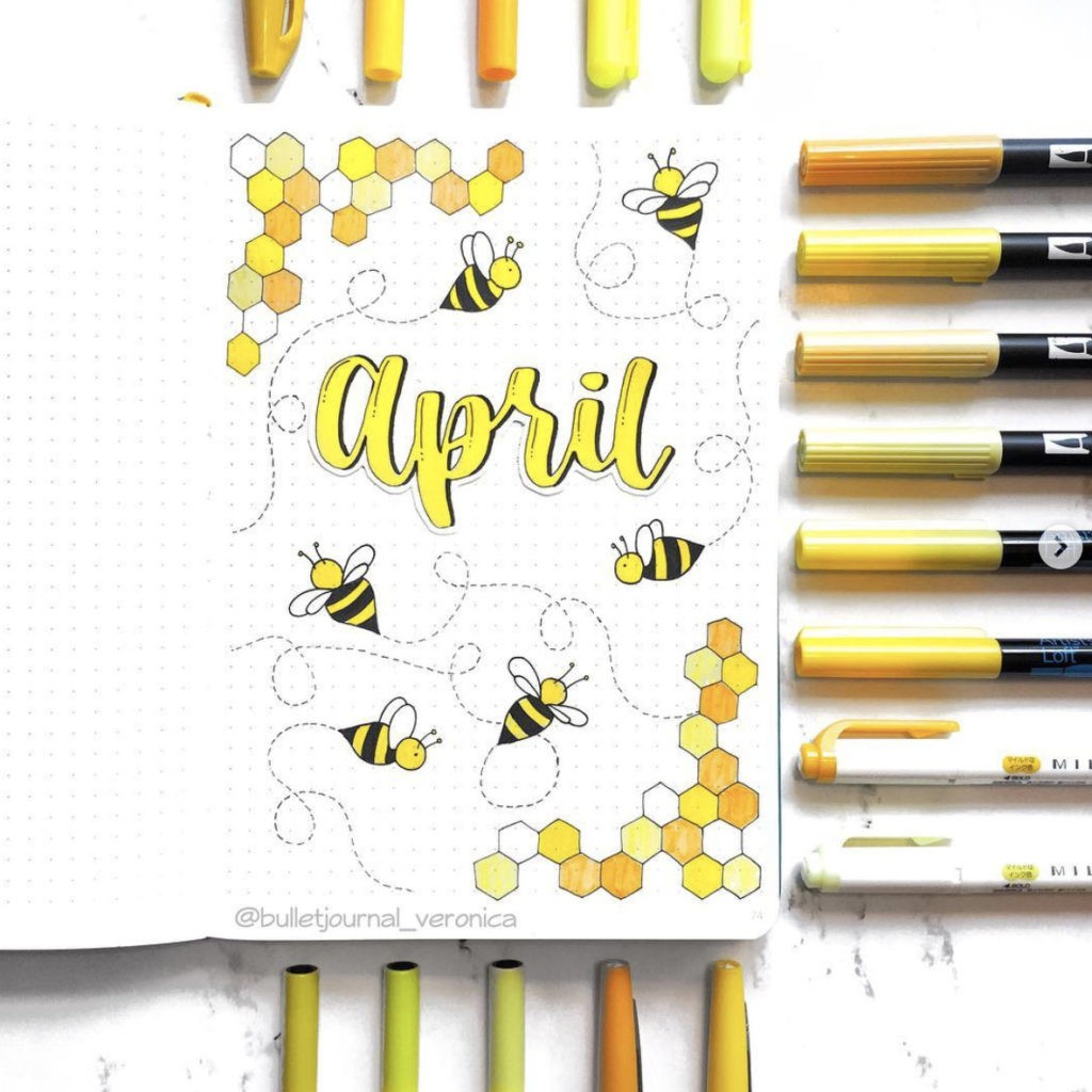 April bullet journal monthly cover page
