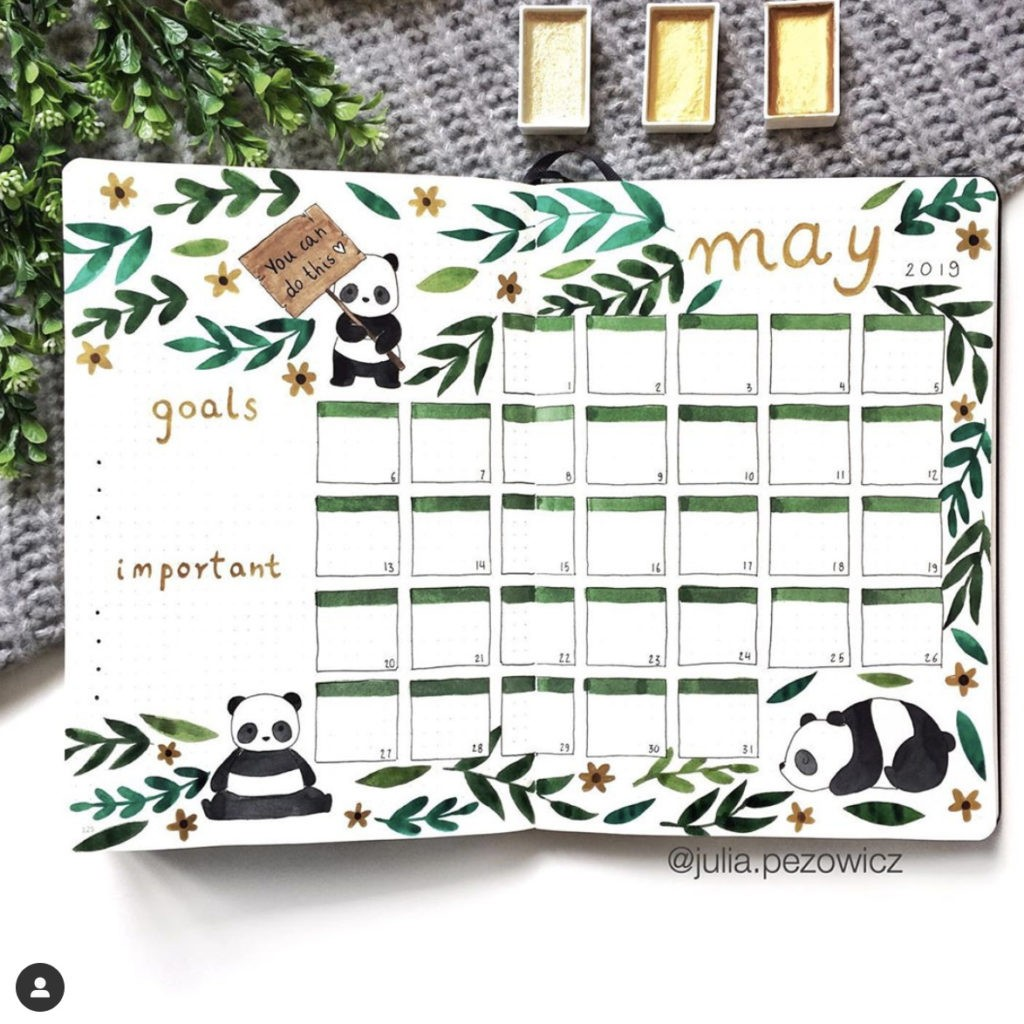 panda bullet journal monthly layout