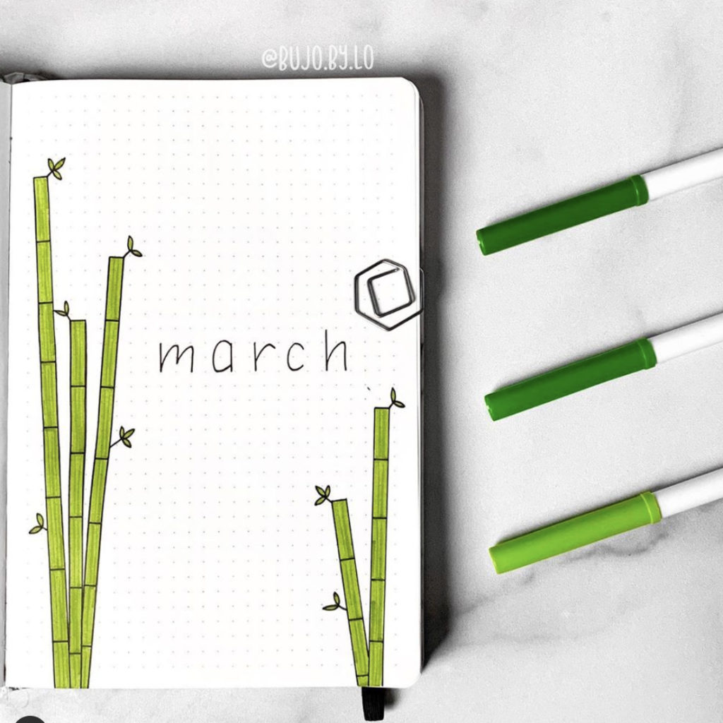 bullet journal cover page bamboo