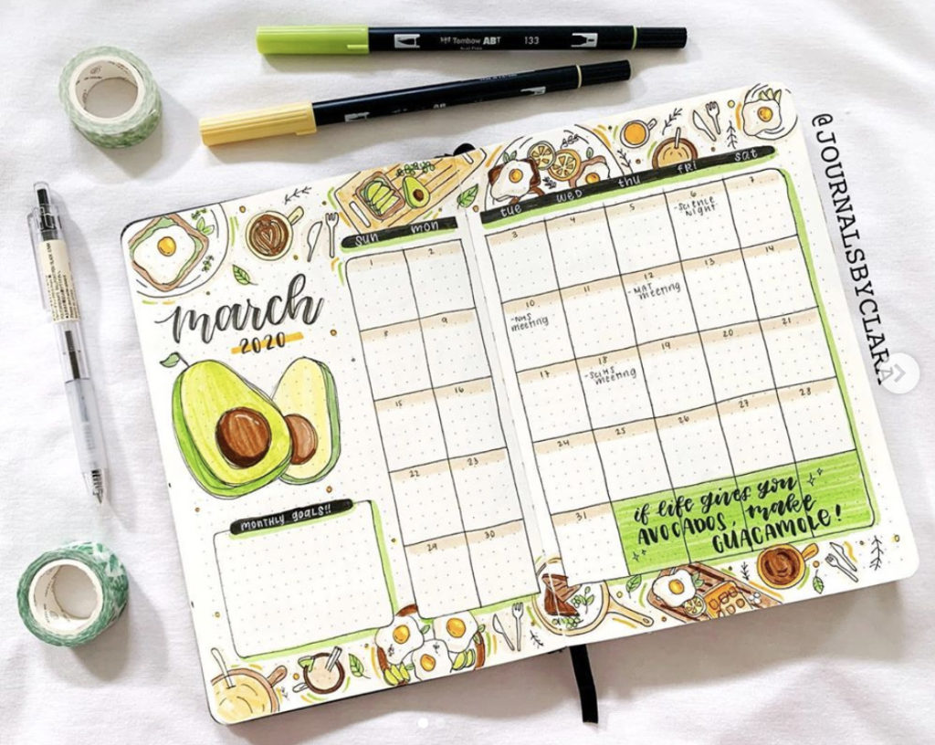 bullet journal monthly layout avocado